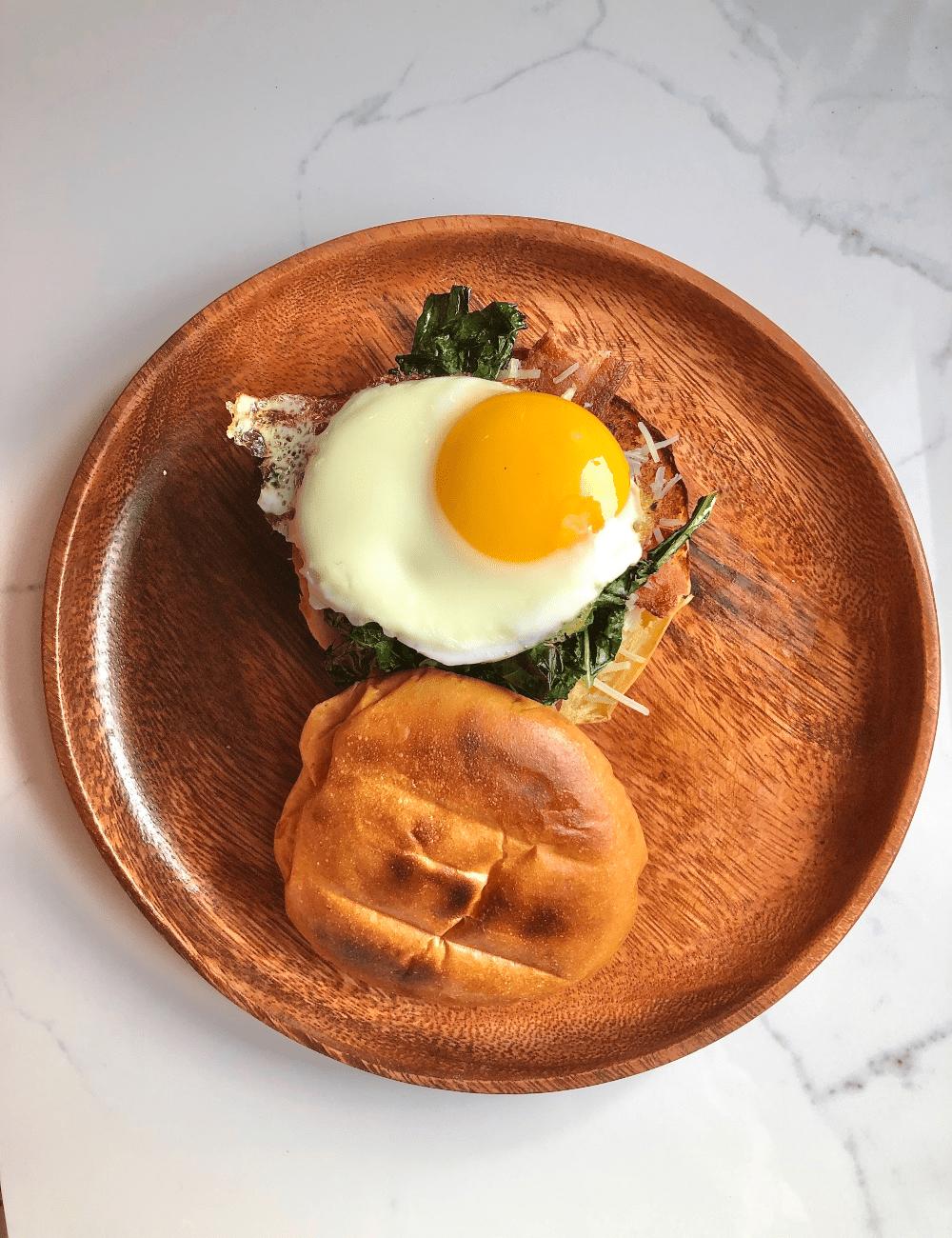 Egg & Garlicky Kale Breakfast Sammy